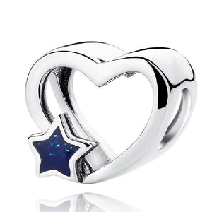 925 Sterling Silver Open Heart with Blue Star Pandora Compatible Bead Charm