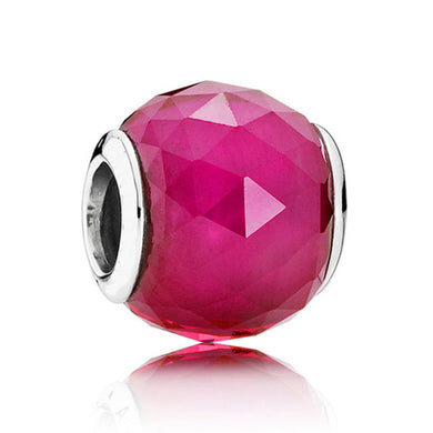 925 Sterling Silver Geometric Cherise Pink Facet Pandora Compatible Bead Charm
