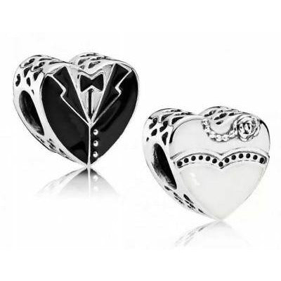 925 Sterling Silver His and Hers Wedding Outfit Heart Pandora Compatible Bead Charm