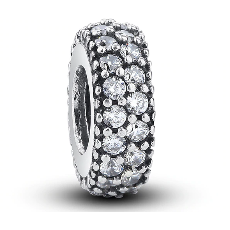 925 Sterling Silver Sparkling Clear CZ Pandora Compatible Spacer