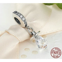 Load image into Gallery viewer, 925 Sterling Silver CZ Baby Pacifier/Dummy Pandora Compatible Dangle Charm