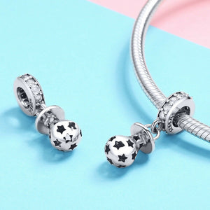 925 Sterling Silver Baby Pacifier Pandora Compatible Dangle Charm