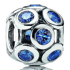 925 Sterling Silver Blue Crystal Whimsical Lights Pandora Compatible Charm