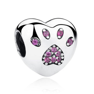 925 Sterling Silver Pink CZ Paw Print Heart Pandora Compatible Bead Charm