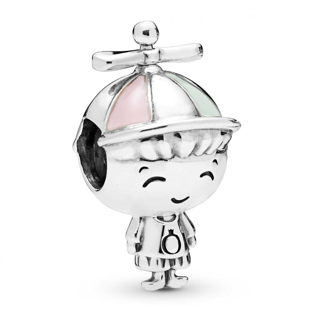 925 Sterling Silver Sweet Little Propeller Hat Boy Charm