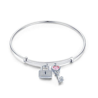 925 Sterling Silver Lock and Key Adjustable Bangle