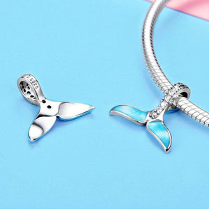 925 Sterlimg Silver BLUE FISHTAIL Pandora Compatible Dangle Charm