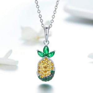 925 Sterling Silver Yellow and Green CZ Pineapple Pandora Compatible Dangle Charm