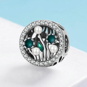 SHINING ZIRCON CHARM BEADS PENDANTS FLOWERING SHRUBS SCC1094