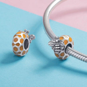 925 Sterling Silver Orange Honey Bee Pandora Compatible Bead Charm