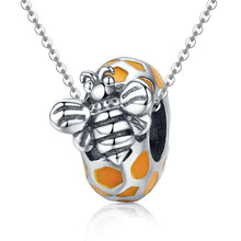 Load image into Gallery viewer, 925 Sterling Silver Orange Honey Bee Pandora Compatible Bead Charm
