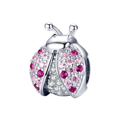 925 Sterling Silver pink CZ Lady Bug Pandora Compatible Charm