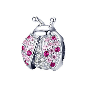 925 Sterling Silver Pink CZ Ladybird Pandora Compatible Bead Charm