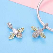 Load image into Gallery viewer, 925 Sterling Silver Two Tone Bee Pandora Compatible Dangle Charm
