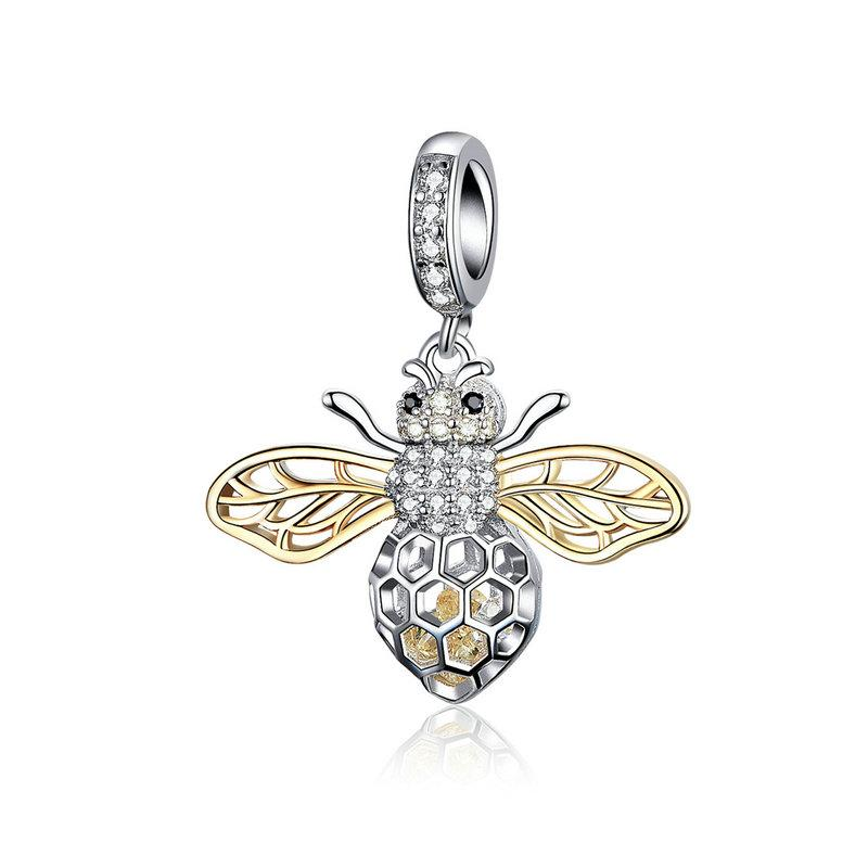 925 Sterling Silver Two Tone Bee Pandora Compatible Dangle Charm