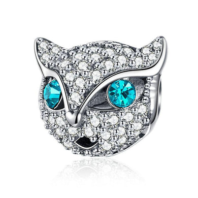 925 Sterling Silver Dazzling CZ Kitten Cat Fox Pandora Compatible Bead Charm
