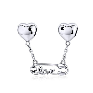 .925 Sterling Silver love safety pin dangle charm