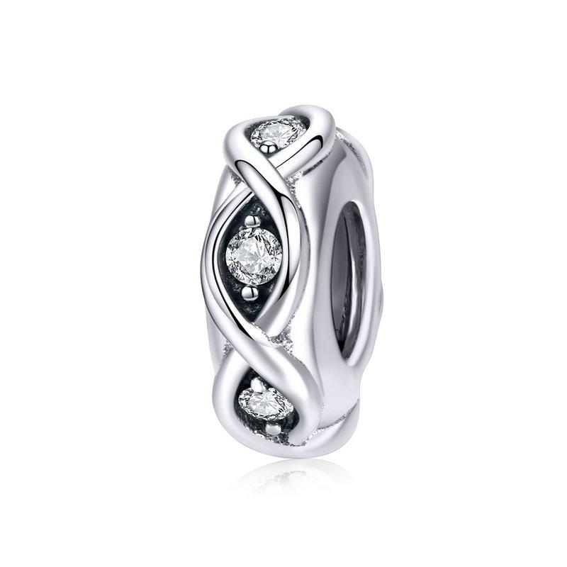 .925 Sterling Silver Vintage CZ Spacer Charm