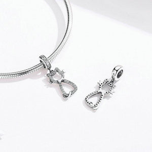 925 Sterling Silver CZ Oh My Cat Pandora Compatible Dangle Charm