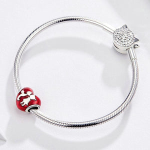925 Sterling Silver I Love You Kiss Heart Red Enamel Pandora Compatible Bead Charm