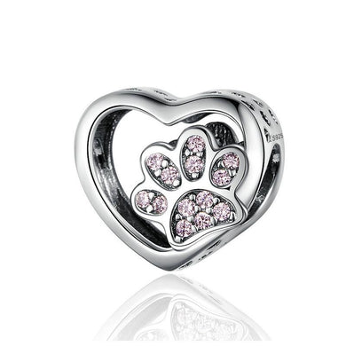 925 Sterling Silver Pink CZ Paw Print in my Heart Pandora Compatible Bead Charm