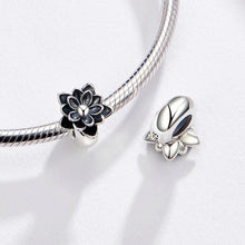 Load image into Gallery viewer, 925 Sterling Silver Black Enamel Lotus Pandora Compatible Spacer/Stopper