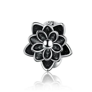 925 Sterling Silver Black Enamel Lotus Pandora Compatible Spacer/Stopper
