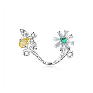 925 Sterling Silver CZ Flower and Bee Pandora Compatible Bead Charm