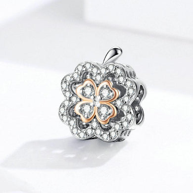 925 Sterling Silver Two Tone Rose Gold Plated Clover Pandora Compatible Bead Charm