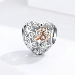 925 Sterling two tone clover heart Pandora Compatible Charm