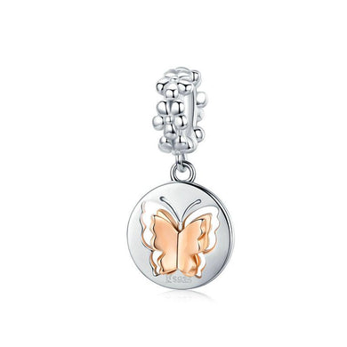 925 Sterling Silver Rose Gold Plated Butterfly Pandora Compatible Dangle Charm