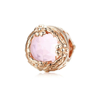 925 Sterling Silver Rose Gold Plated pink CZ Pandora Compatible Charm