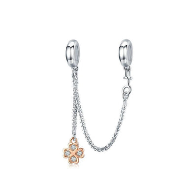 925 Sterling Silver Rose Gold Plated Clover Safety Chain (Rubber Stopper)