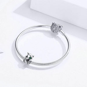925 Sterling Silver Baby Fox Green Eyes Pandora Compatible Bead Charm