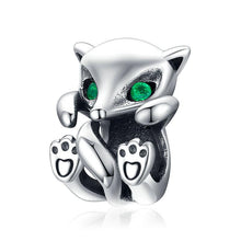 Load image into Gallery viewer, 925 Sterling Silver Baby Fox Green Eyes Pandora Compatible Bead Charm