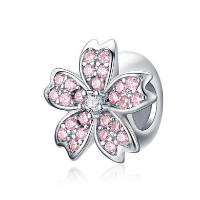 925 Sterling Silver Pink CZ Cherry Blossom Pandora Compatible Spacer/Stopper