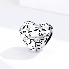 Load image into Gallery viewer, 925 STERLING SILVER CZ Heart FLOWER CHARM