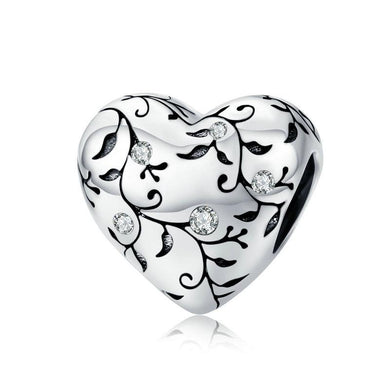 925 STERLING SILVER CZ Heart FLOWER CHARM