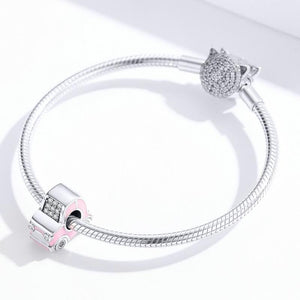 925 Sterling Silver Super Cute Pink Car Pandora Compatible Charm