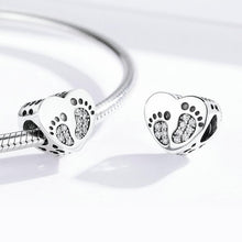 Load image into Gallery viewer, 925 Sterling Silver CZ Baby Footprints Heart Pandora Compatible Bead Charm