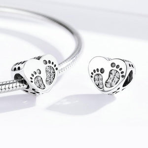 925 Sterling Silver CZ Baby Footprints Heart Pandora Compatible Bead Charm
