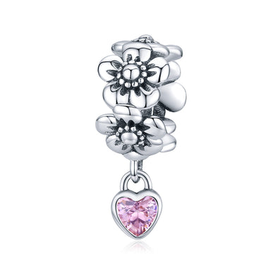 925 Sterling Silver Love Flower Pandora Compatible Spacer