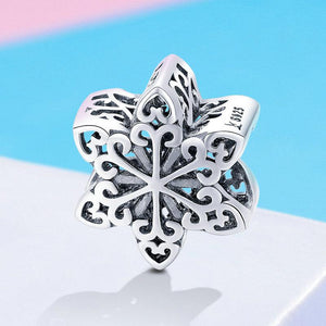 925 Sterling Silver Elegant Openwork Snowflake Pandora Compatible Bead Charm