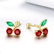 Load image into Gallery viewer, CHERRY GOLD PLATED ZIRCON JEWELRY 925 SILVER EARRINGS