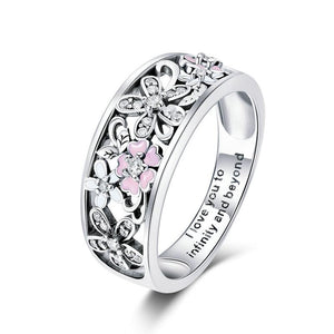 925 Sterling Silver CZ Pink and White Enamel Daisy Flower Ring