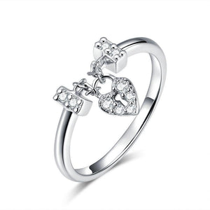 925 Sterling Silver Heartlock ring