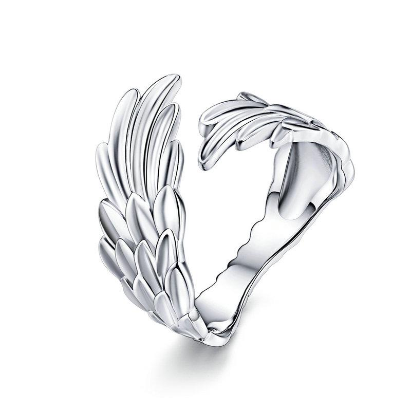 925 Sterling Silver Guardian Angel Wings Adjustable Wrap Ring
