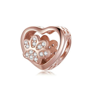 Rose Gold-Color White CZ Dog Paw Pandora Compatible Bead Charm