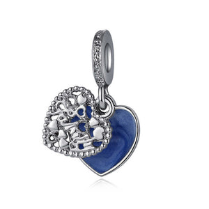 925 Sterling Silver Blue Enamel Love Makes a Family Heart Pandora Compatible Dangle Charm