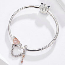 Load image into Gallery viewer, 925 Sterling Silver Two Tone CZ Cupid Arrow Pandora Compatible Decorative Chain Charm